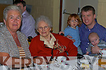 The photo not used.100 YEARS YOUNG: Catherine O'Connor (seated centre) formerly of Abbeyfeale and now in Fatima Nursing Home celebrating her 100th birthday with her children, grandchildren and great-grandchildren at the Church of Our Lady and St Brendan Parish Centre on Sunday.   Copyright Kerry's Eye 2008