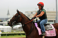 LOUISVILLE, KY - APRIL 27: Go Maggie Go (Ghostzapper x Magibel, by Tale of the Cat) exercises on the track with rider Tammy Fox at Churchill Downs in preparation for the Kentucky Oaks. Owner Mike Tarp, trainer Dale L. Romans. (Photo by Mary M. Meek/Eclipse Sportswire/Getty Images)