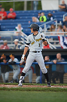 West Virginia Black Bears second baseman Tristan Gray (2) at bat during a game against the Batavia Muckdogs on June 24, 2017 at Dwyer Stadium in Batavia, New York.  The game was suspended in the bottom of the third inning and completed on June 25th with West Virginia defeating Batavia 6-4.  (Mike Janes/Four Seam Images)