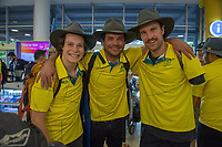 Welcome home / Ben Tudhope, Lucas Prem and Sean Pollard<br /> PyeongChang 2018 Paralympic Games<br /> Australian Paralympic Committee<br /> Sydney International Airport<br /> PyeongChang South Korea<br /> Tuesday March 20th 2018<br /> &copy; Sport the library / Jeff Crow
