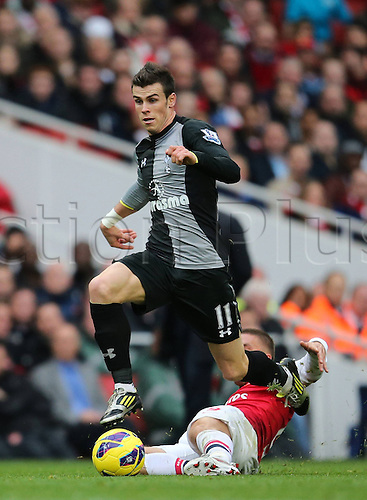 17.11.2012. London, England. Gareth Bale of Tottenham Hotspur Breaks Through the Arsenal defense during The Barclays Premier League Match Against Arsenal at The Emirates  Arsenal Won 5 2