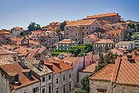 Elevated view of Old Town Dubrovnik, Croatia a UNESCO World Heritage Site
