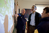 United States Coast Guard Commandant Admiral Thad Allen, left, who is serving as the National Incident Commander, and Environmental Protection Agency (EPA) Administrator Lisa Jackson, right, brief U.S. President Barack Obama about the situation along the Gulf Coast following the BP oil spill, at the Coast Guard Venice Center, in Venice, LA, Sunday, May 2, 2010. (Official White House Photo by Pete Souza)..This official White House photograph is being made available only for publication by news organizations and/or for personal use printing by the subject(s) of the photograph. The photograph may not be manipulated in any way and may not be used in commercial or political materials, advertisements, emails, products, promotions that in any way suggests approval or endorsement of the President, the First Family, or the White House. ..Mandatory Credit: Pete Souza - White House via CNP