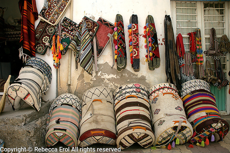Traditional saddles (palan) and other equestrian accessories in Gerger, Adiyaman province, southeastern Turkey