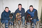 QUALIFIED: Owners with their dogs who qualifed for the Finals this week at Kingdom Greyhound Stadium, Tralee, l-r: Martin O'Reilly (Highbury Lao), Fintan Kennelly (Droopys Woosnam) and Shane Murphy (Oscar Jo)..