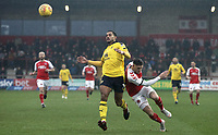 Oxford United's Curtis Nelson battles with Fleetwood Town's Wes Burns<br /> <br /> Photographer Rich Linley/CameraSport<br /> <br /> The EFL Sky Bet League One - Fleetwood Town v Oxford United - Saturday 12th January 2019 - Highbury Stadium - Fleetwood<br /> <br /> World Copyright &copy; 2019 CameraSport. All rights reserved. 43 Linden Ave. Countesthorpe. Leicester. England. LE8 5PG - Tel: +44 (0) 116 277 4147 - admin@camerasport.com - www.camerasport.com