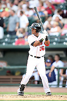 Great Lakes Loons Jaime Ortiz (36) at Dow Diamond in Midland, MI. The Loons are the Midwest League affiliate of the Los Angeles Dodgers. July 8, 2010. Photo By Chris Proctor/Four Seam Images