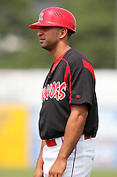 Batavia Muckdogs coach Oliver Marmol (2) during a game vs. the Mahoning Valley Scrappers at Dwyer Stadium in Batavia, New York August 3, 2010.  Batavia defeated Mahoning Valley 8-1.  Photo By Mike Janes/Four Seam Images
