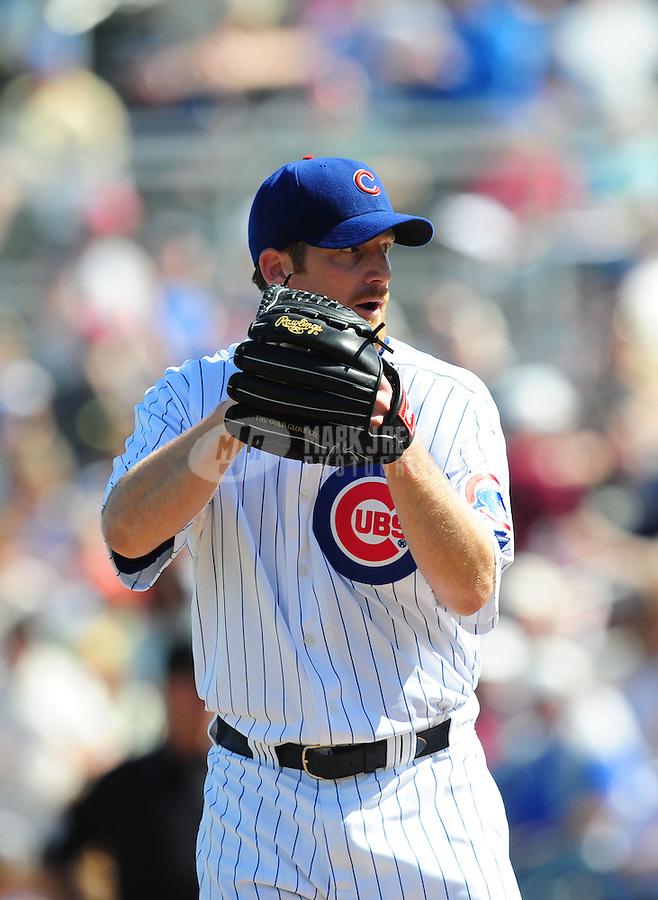 Mar 4, 2008; Mesa, AZ, USA; Chicago Cubs pitcher Ryan Dempster against the Milwaukee Brewers at HoHoKam Park. Mandatory Credit: Mark J. Rebilas-
