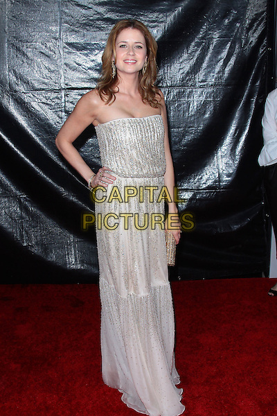 JENNA FISCHER.NBC Universal's 67th Annual Golden Globe After Party held at Beverly  Hilton, Beverly Hills, California, USA..January 17th 2010.globes full length silver gold beads beaded dress strapless maxi hand on hip .CAP/ADM/TC.©T.Conrad/Admedia/Capital Pictures