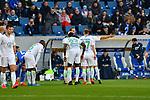 15.02.2020, PreZero-Arena, Sinsheim, GER, 1. FBL, TSG 1899 Hoffenheim vs. VFL Wolfsburg, <br /> <br /> DFL REGULATIONS PROHIBIT ANY USE OF PHOTOGRAPHS AS IMAGE SEQUENCES AND/OR QUASI-VIDEO.<br /> <br /> im Bild: Die Wolfsburger diskutieren mit Schiedsrichter Soeren Storks<br /> <br /> Foto © nordphoto / Fabisch