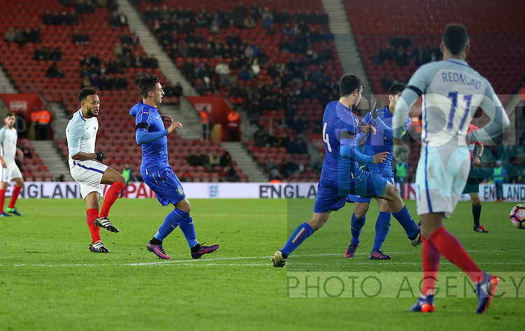 England's Lewis Baker scoring his sides second goal during the Under 21 International Friendly match at the St Mary's Stadium, Southampton. Picture date November 10th, 2016 Pic David Klein/Sportimage