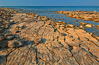 Limestone rock along Sydney Bay in Georgian Bay (Lake Huron). Bruce Peninsula.<br />