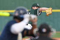 Relief pitcher Trey Van Der Weide (31) of the University of South Carolina Upstate Spartans delivers a pitch in a game against the Pittsburgh Panthers on Saturday, February 24, 2018, at Cleveland S. Harley Park in Spartanburg, South Carolina. Pittsburgh won, 3-1. (Tom Priddy/Four Seam Images)