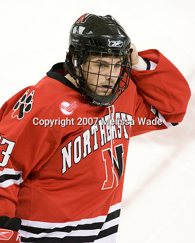 Chris Donovan (Northeastern - 23) - The Boston College Eagles defeated the visiting Northeastern University Huskies 7-1 on Friday, March 9, 2007, to win their Hockey East quarterfinals matchup in two games at Conte Forum in Chestnut Hill, Massachusetts.