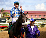 DEL MAR, CA: November 22: #5 India Mantuana with Tyler Baze after going wire to wire in the Grade III Red Carpet Handicap at Del Mar Thoroughbred Club  on November 22, 2018 in Del Mar, California (Photo by Chris Crestik/Eclipse Sportswire)