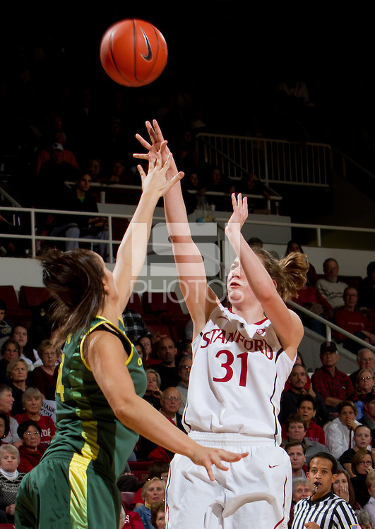 STANFORD, CA - February 26, 2011:  Toni Kokenis scores in Stanford's 99-60 victory over Oregon at Stanford, California on February 26, 2011.