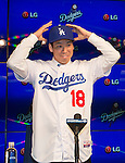 Kenta Maeda (Dodgers),<br /> JANUARY 7, 2016 - MLB : Newly signed Los Angeles Dodgers pitcher Kenta Maeda of Japan during his introductory press conference at Dodger Stadium in Los Angeles, California, United States.<br /> (Photo by Thomas Anderson/AFLO) (JAPANESE NEWSPAPER OUT)