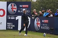 Haydn Porteous (RSA) on the 17th tee during Round 1of the Sky Sports British Masters at Walton Heath Golf Club in Tadworth, Surrey, England on Thursday 11th Oct 2018.<br /> Picture:  Thos Caffrey | Golffile<br /> <br /> All photo usage must carry mandatory copyright credit (© Golffile | Thos Caffrey)