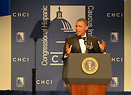 September 14, 2011 (Washington, DC)   U.S. President Barack Obama addresses attendees of the 34th Annual Congressional Hispanic Caucus Awards Gala.  (Photo by Don Baxter/Media Images International)