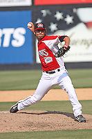 Nick Christiani #39 of the Carolina Mudcats pitching during a game against the Chattanooga Lookouts on May 22, 2011 at Five County Stadium in Zebulon, North Carolina. Photo by Robert Gurganus/Four Seam Images.