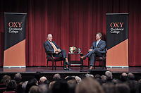Senator Jeff Flake speaks in Thorne Hall as part of a moderated discussion with Oxy Trustee Grant Woods '76 on Wednesday, February 5, 2020. Sen. Flake spoke at Oxy and met with students, faculty and guests as part of Oxy's Jack Kemp '57 Distinguished Lecture Series.<br /> <br /> (Photo by John Valenzuela, Freelance Photographer)
