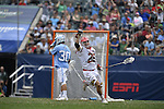 30 MAY 2016: Austin Henningsen of the University of Maryland celebrates  against the University of North Carolina during the Division I Men's Lacrosse Championship held at Lincoln Financial Field in Philadelphia, PA. Larry French/NCAA Photos