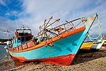 Boats and Harbors. Wooden boats at Calbuco, Chile, South America