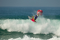 """LA GRAVIERE, Hossegor/France (Tuesday, October 11, 2011) Julian Wilson (AUS). – Clean three-to-four foot (1 metre) lefts and rights are on offer this morning at La Graviere, prompting Quiksilver Pro France organizers to call competition back on with Round 4 commencing at 8:15am...Stop No. 8 of 11 on the 2011 ASP World Title season, the Quiksilver Pro France looks to get through Rounds 4 and 5 as well as the Quarterfinals this morning before the high tide fills in...""""Conditions look very contestable this morning and we'll be commencing with men's competition at 8:15am,"""" Rich Porta, ASP International Head Judge, said. """"We're in a race against the high tide today so we're hoping to complete 12 heats of competition before it becomes unmanageable. That said, we'll monitor the conditions throughout the morning and adjust the schedule accordingly.""""..Heat one was stopped after 14 minutes because of fog and the contest was put on hold for the next four hours waiting for the fog to lift..Round four was completed and one heat of Round five before the contest was put back on hold because of the high tide conditions. Photo: joliphotos.com"""