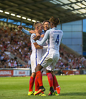 Lewis Baker (Vitesse Arnhem, loan from Chelsea) of England celebrates his goal with teammates during the International EURO U21 QUALIFYING - GROUP 9 match between England U21 and Norway U21 at the Weston Homes Community Stadium, Colchester, England on 6 September 2016. Photo by Andy Rowland / PRiME Media Images.