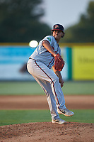 Danville Braves starting pitcher Lisandro Santos (57) in action against the Burlington Royals at Burlington Athletic Stadium on August 9, 2019 in Burlington, North Carolina. The Royals defeated the Braves 6-0. (Brian Westerholt/Four Seam Images)