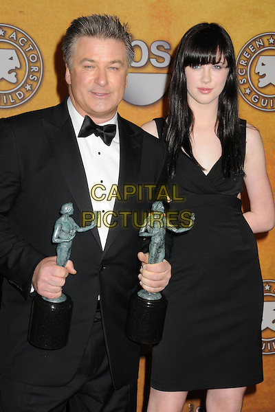 ALEC BALDWIN & IRELAND BALDWIN.15th Annual Screen Actors Guild Awards held at the Shrine Auditorium, Los Angeles, California, USA..January 25th, 2009.SAG pressroom half length black tuxedo dress father daughter dad family awards trophies.CAP/ADM/BP.©Byron Purvis/AdMedia/Capital Pictures.