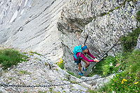 A trail runner climbs a ladder while on the way to the Strahlegghorn, from Grindelwald, Switzerland.