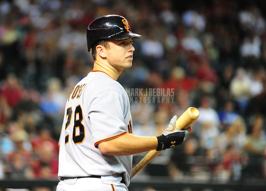 Jul. 24, 2010; Phoenix, AZ, USA; San Francisco Giants catcher Buster Posey against the Arizona Diamondbacks at Chase Field. Mandatory Credit: Mark J. Rebilas-