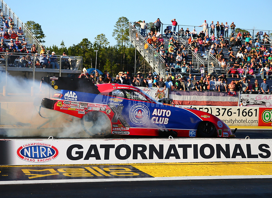 Mar 17, 2017; Gainesville , FL, USA; NHRA funny car driver Robert Hight during qualifying for the Gatornationals at Gainesville Raceway. Mandatory Credit: Mark J. Rebilas-USA TODAY Sports