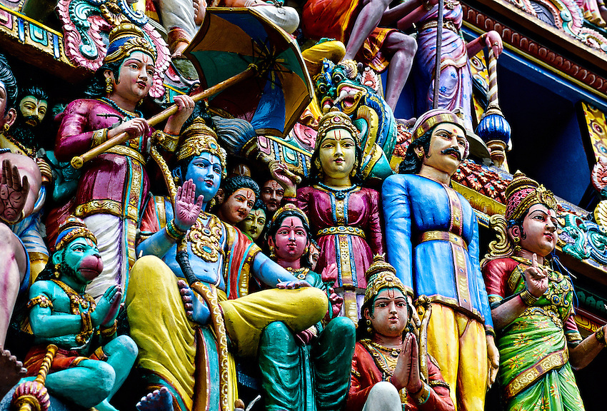 Hindu deities (sculptures) on the Gopuram, Sri Mariamman Temple (built in the South Indian Dravidian style), Singapore