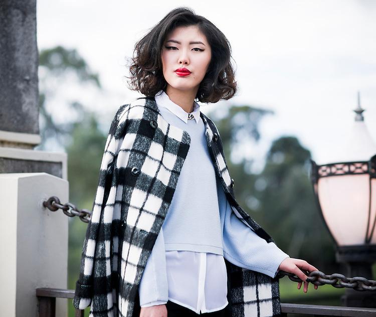 Fashion with Mirella, Checks. Model Mel Xie. Pic:Nick Clayton