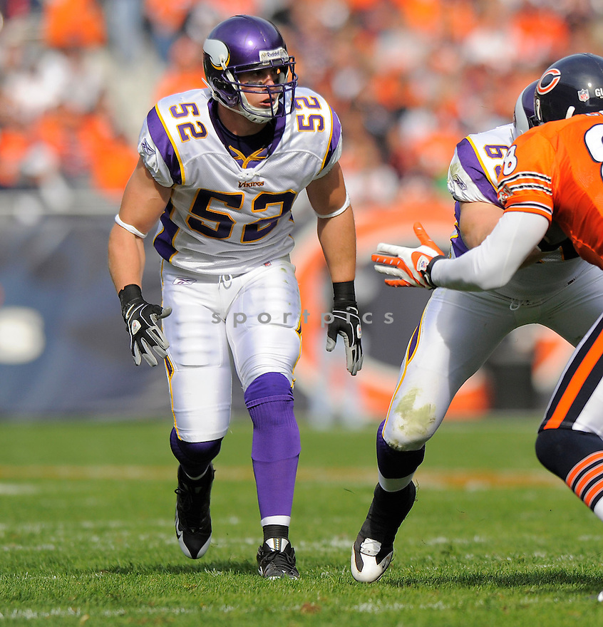 CHAD GREENWAY, of the Minnesota Vikings  in action against the Chicago Bears during the Vikings game in Chicago, IL  on October 19, 2008... The Buccaneers won the game 48-41