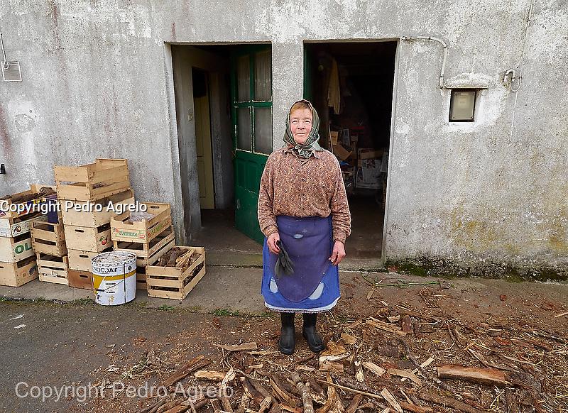 En la imagen Maria guardando la leña para el invierno en Lugo