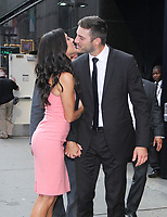 NEW YORK, NY August 07: Becca Kufrin and Garrett Yrigoyen seen at Good Morning America to talk about Bachelorette Finale and Instagram scandal on August 07, 2018 in New York City. <br /> CAP/MPI/RW<br /> &copy;RW/MPI/Capital Pictures