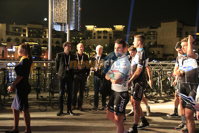 Mark Cavendish (GBR) and Omega Pharma-Quick Step team members during the opening ceremony of the inaugural Dubai Tour 2014 held in Emaar Burj Park at the foot of the Burj Khalifa Tower, Dubai. 4th February 2014.<br /> Picture: Eoin Clarke www.newsfile.ie