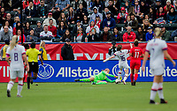 CARSON, CA - FEBRUARY 9: Stephanie Labbe #1 GK of Canada attempts a save from advancing Rose Lavelle #16 of the United States during a game between Canada and USWNT at Dignity Health Sports Park on February 9, 2020 in Carson, California.