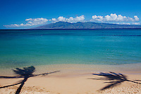 Palm shadows at Napili Bay, Maui.