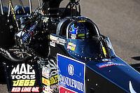 Oct. 15, 2011; Chandler, AZ, USA; NHRA top fuel dragster driver David Grubnic during qualifying at the Arizona Nationals at Firebird International Raceway. Mandatory Credit: Mark J. Rebilas-