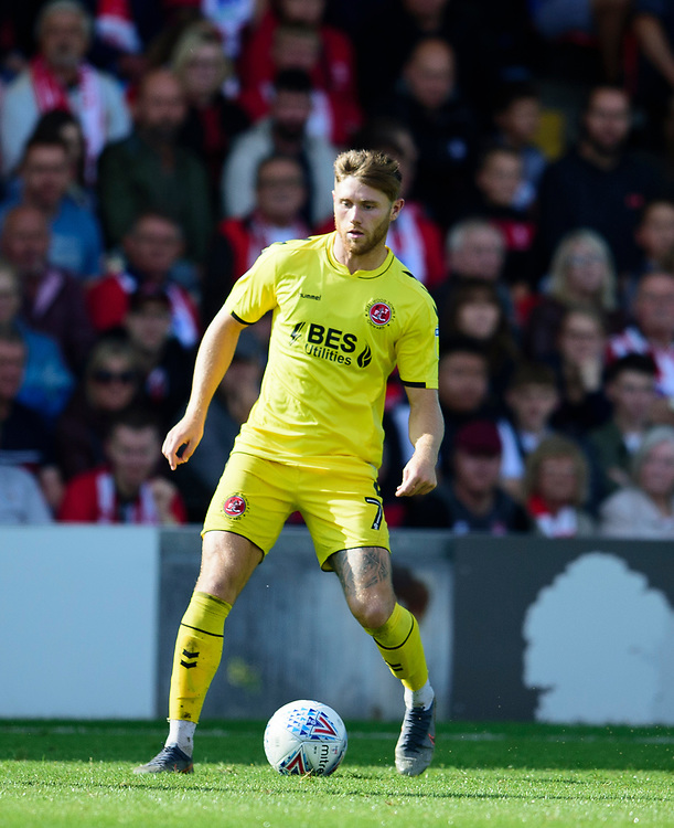 Fleetwood Town's Wes Burns<br /> <br /> Photographer Andrew Vaughan/CameraSport<br /> <br /> The EFL Sky Bet League One - Lincoln City v Fleetwood Town - Saturday 31st August 2019 - Sincil Bank - Lincoln<br /> <br /> World Copyright © 2019 CameraSport. All rights reserved. 43 Linden Ave. Countesthorpe. Leicester. England. LE8 5PG - Tel: +44 (0) 116 277 4147 - admin@camerasport.com - www.camerasport.com