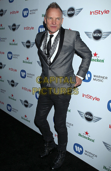 Sting (Gordon Sumner).Warner Music Group 2013 Grammy Celebration held at The Chateau Marmont, West Hollywood, California, USA..February 10th, 2013.full length  grey gray scarf suit black trousers .CAP/ADM/RE.©Russ Elliot/AdMedia/Capital Pictures.