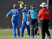 T20 World Cup Qualifying match - Scotland V Namibia at the Sheikh Zayed Stadium - Abu Dhabi - any realistic chance of victory was denied to Scotland when the wicket of Kyle Coetzer fell (bowled van Schoor 22) - Scotland lost by 49 runs - Picture by Donald MacLeod  14.3.12  07702 319 738  clanmacleod@btinternet.com