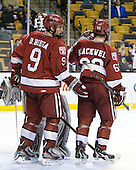 Danny Biega (Harvard - 9), Colin Blackwell (Harvard - 63) - The Harvard University Crimson defeated the Northeastern University Huskies 3-2 in the 2012 Beanpot consolation game on Monday, February 13, 2012, at TD Garden in Boston, Massachusetts.