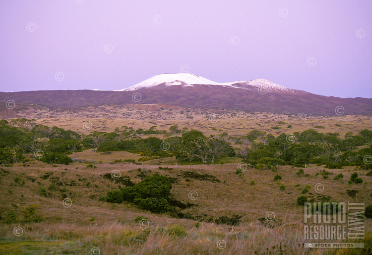 Snow capped Mauna Kea volcano at sunrise. Big Island.