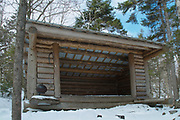 Moose Mountain Shelter located along the Appalachian Trail (Moose Mountain Trail) on Moose Mountain in Hanover, New Hampshire. This an Adirondack-style shelter.